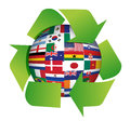 Globe flags recycle illustration Royalty Free Stock Image