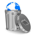 Globe into garbage basket on white background Royalty Free Stock Photos