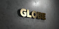 Globe - Gold sign mounted on glossy marble wall  - 3D rendered royalty free stock illustration Royalty Free Stock Photo