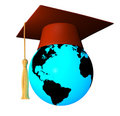 Globe with graduation cap Royalty Free Stock Images