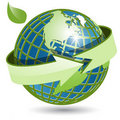 Globe and green arrow Stock Images