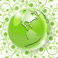 Globe on green pattern Stock Images