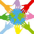 Globe hands around the helping the planet Royalty Free Stock Images
