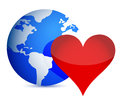 Globe and heart Royalty Free Stock Photography