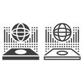 Globe hologram line icon, outline and solid vector sign, linear