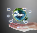 Globe  in human hand, hand holding our planet earth glowing. Ear Royalty Free Stock Photo