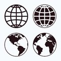 Globe icon set. Royalty Free Stock Photo