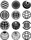 Globe icons set of icon set in black color Royalty Free Stock Images