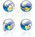 The Globe-Ikonen eingestellt - Auslegung-Elemente 54a Lizenzfreies Stockfoto