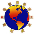Globe illustrating climate change a surrounded by wooden blocks spelling out Stock Photos