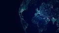 Globe international network, sci-fi world map background Royalty Free Stock Photo