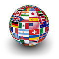 Globe international world flags travel services and business concept with a and of the on white background Royalty Free Stock Photography