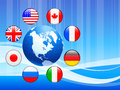 Globe with internet flag buttons background original vector illustration Royalty Free Stock Images