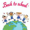 Globe kids. Earth day. Pupil school jumping Vector illustration Children Holding Hands. Royalty Free Stock Photo
