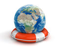 Globe and lifebuoy clipping path included image with Royalty Free Stock Photo