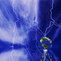 Globe and lightning Royalty Free Stock Photo