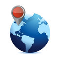 Globe and locator illustration design over white Stock Photos