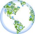 Globe with many ecology icons