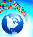 Globe with Many Flag Banner Royalty Free Stock Photos
