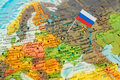 Globe map detail Russia with Russian Flag Royalty Free Stock Photo