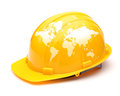 Globe map on safety helmet