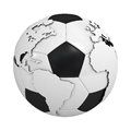 Globe map on soccer ball Stock Photo