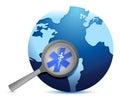 Globe with medical symbol under a magnify glass illustration design Stock Image