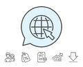 Globe with mouse cursor line icon. World sign. Royalty Free Stock Photo