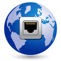 Globe with network socket Royalty Free Stock Image