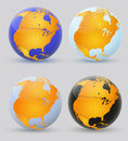 Globe and north america set of multi colored globes of Stock Photography
