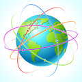 Globe with orbits. Vector map illustration Royalty Free Stock Image