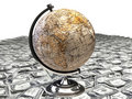 Globe over many dollar Stock Photos