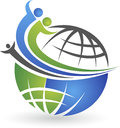 Globe people logo illustration art of a with isolated background Royalty Free Stock Photo