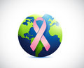 Globe and pink support ribbon illustration Royalty Free Stock Photo