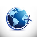 Globe and plane illustration design over a white background Royalty Free Stock Photos
