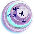Globe with plane signs. Royalty Free Stock Photo
