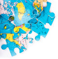 Globe puzzles concept of globalization earth puzzle on white background Stock Image
