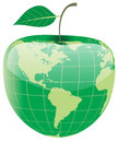 Globe in the shape of apple Stock Photos