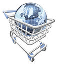 Globe shopping cart concept Stock Photos