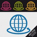 Globe Sign And Round The World Arrow - Vector Illustration - Isolated On Transparent Background Royalty Free Stock Photo