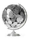 Globe of silver dollars on an isolated white backg Royalty Free Stock Image