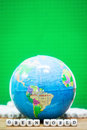 Globe south america with greem world message from wood dice Royalty Free Stock Image