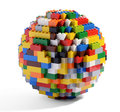 Globe or sphere of multicolored blocks circular constructed interlocking lego a well known childhood toy which can be assembled Royalty Free Stock Photography