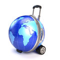 Globe suitcase travel concept d render Stock Image
