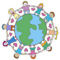 Globe with Surrounding Kids Stock Photography