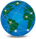 Globe with trading paths and points vector illustration Stock Photo