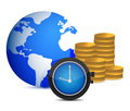 Globe watch and coins Royalty Free Stock Images