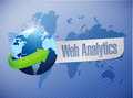 Globe web analytics illustration design over a white background Royalty Free Stock Photography