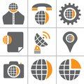 Globe web icon set Royalty Free Stock Photo
