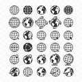 Globe web icon set. Planet Earth icons for websites. Royalty Free Stock Photo